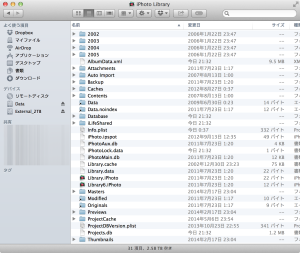 iPhoto Libraryファイルの構造